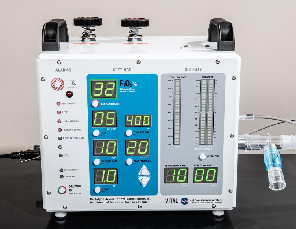 A front-facing portrait of VITAL (Ventilator Intervention Technology Accessible Locally), a ventilator designed and built by NASA's Jet Propulsion Laboratory in Southern California.