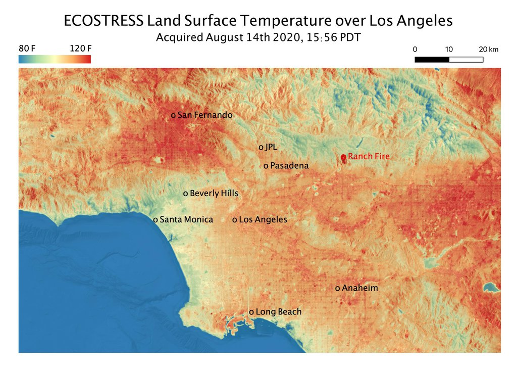This ECOSTRESS temperature map shows the land surface temperatures throughout Los Angeles County on Aug. 14, 2020, during a heat wave.