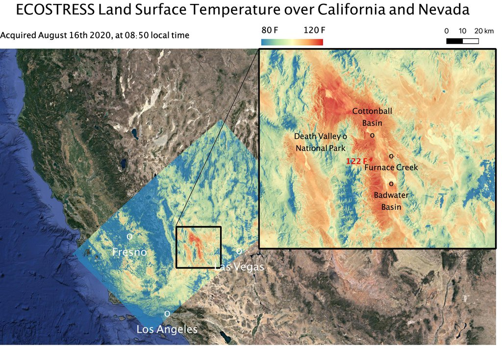 This ECOSTRESS temperature map shows the land surface temperatures around Death Valley in California's Mojave Desert on Aug. 16, 2020. during a heat wave.
