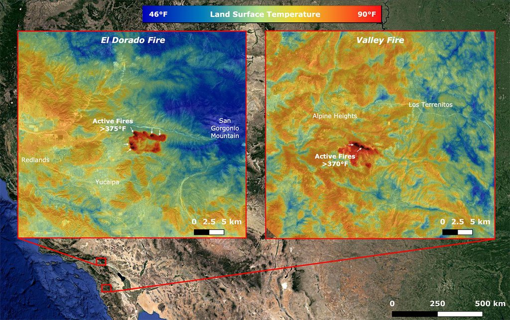 On Sept. 6, NASA's ECOSTRESS imaged active fires across California, including the El Dorado fire near Yucaipa and the Valley fire in Japatul Valley in the southern part of the state.
