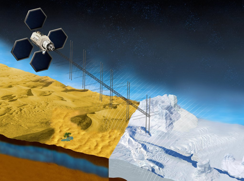 The OASIS project seeks to study fresh water aquifers in the desert as well as ice sheets in places like Greenland. This illustration shows what a satellite with a proposed radar instrument for the mission could look like.