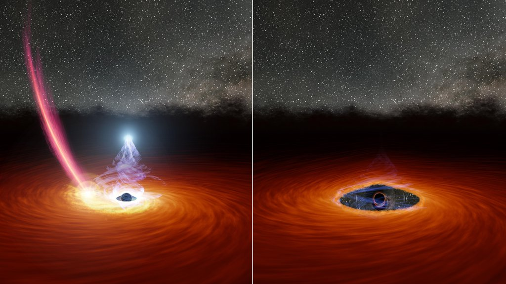 This illustration shows a black hole surrounded by a disk of gas. In the left panel, a streak of debris falls toward the disk. In the right panel, the debris has dispersed some of the gas, causing the corona to disappear.