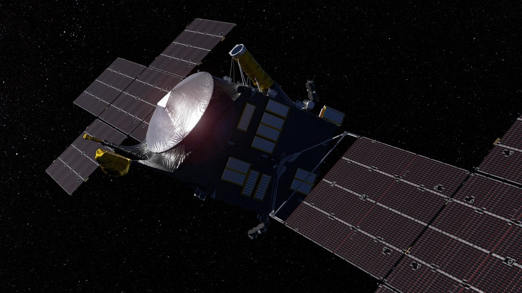 This artist's concept, updated as of June 2020, depicts NASA's Psyche spacecraft.
