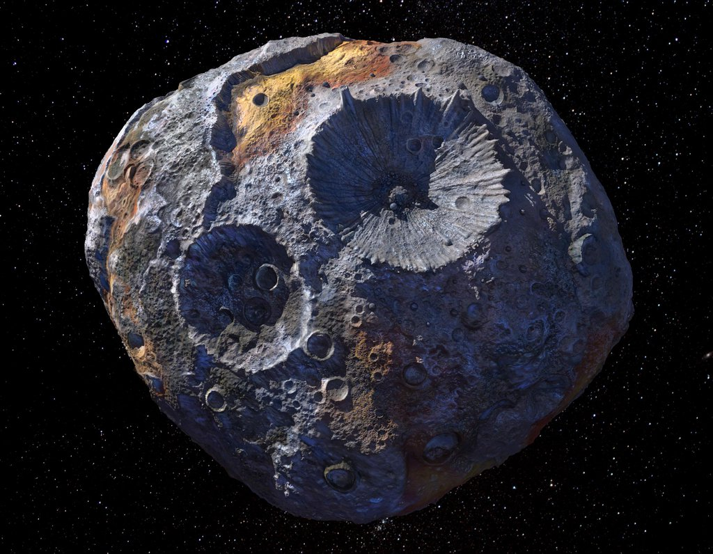 This artist's concept depicts the asteroid Psyche, the target of NASA's Psyche mission.