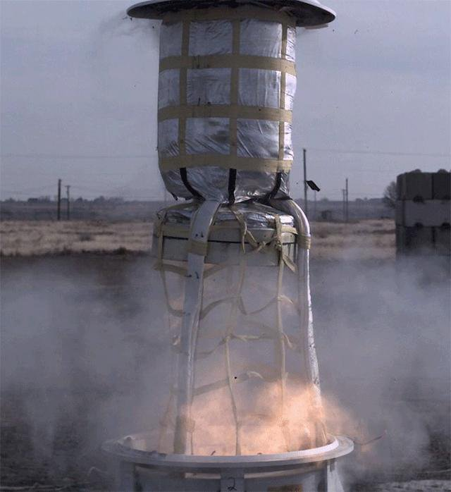 This animated GIF shows a test of the mortar system that will be used on Feb. 18, 2021, to deploy the parachute for NASA's Perseverance rover.