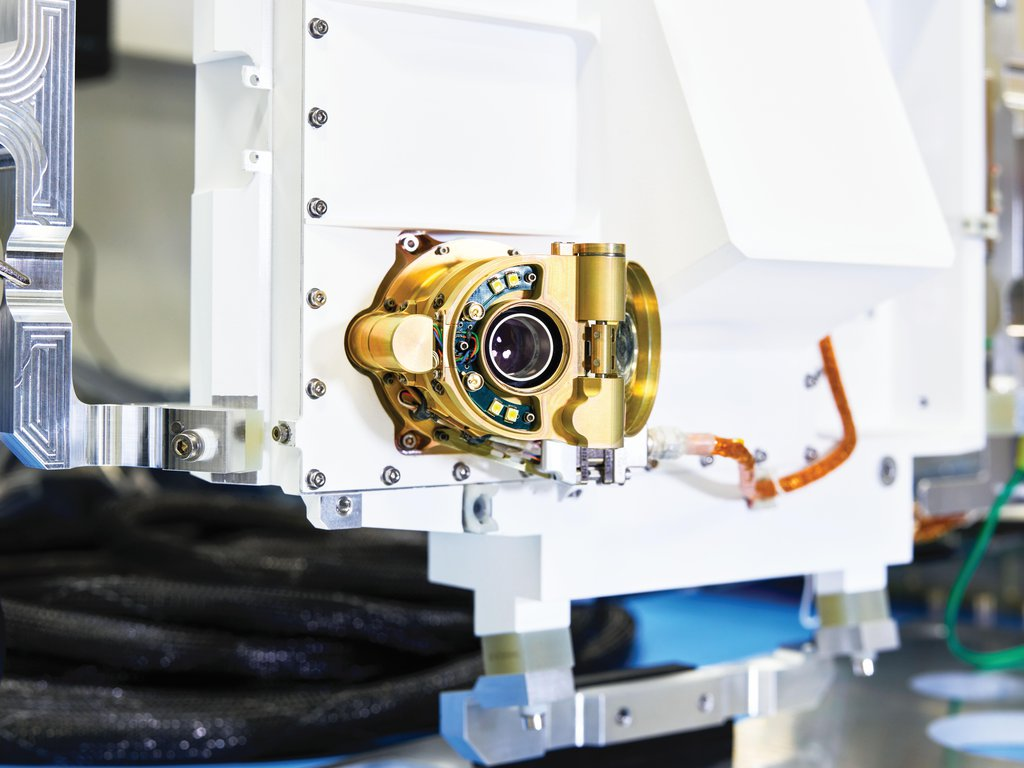 This image shows an engineering model of SHERLOC, one of the instruments onboard NASA's Perseverance Mars rover.