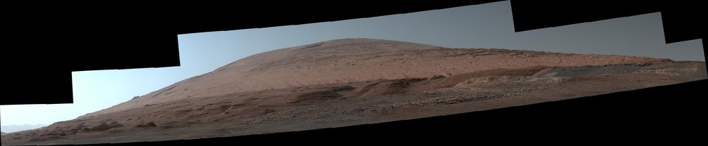The Mast Camera, or Mastcam, on NASA's Curiosity Mars rover used its telephoto lens to capture Mount Sharp in the morning illumination on Oct. 13, 2019.