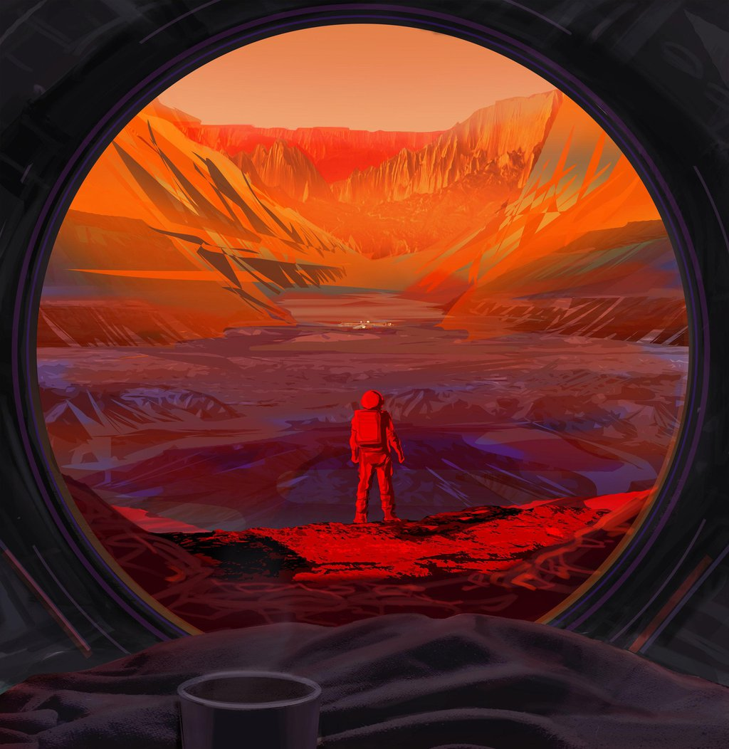 This illustration shows an astronaut on Mars, as viewed through the window of a spacecraft.