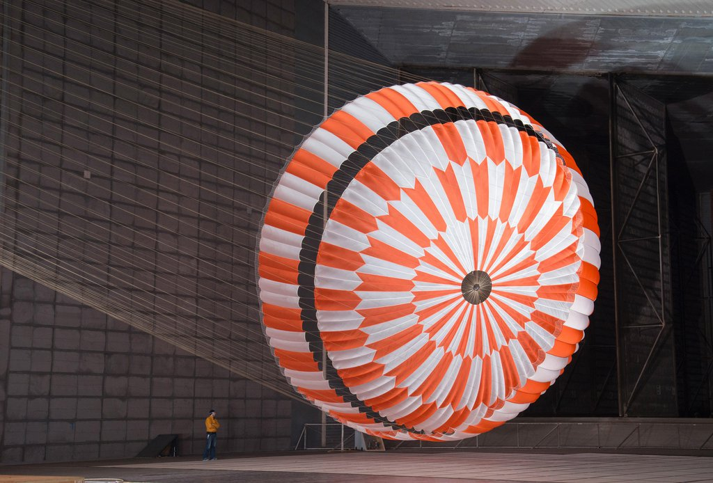 In this June 2017 photo, the supersonic parachute design that will land NASA's Perseverance rover on Mars on Feb. 18, 2021, undergoes testing in a wind tunnel at NASA's Ames Research Center in California's Silicon Valley.
