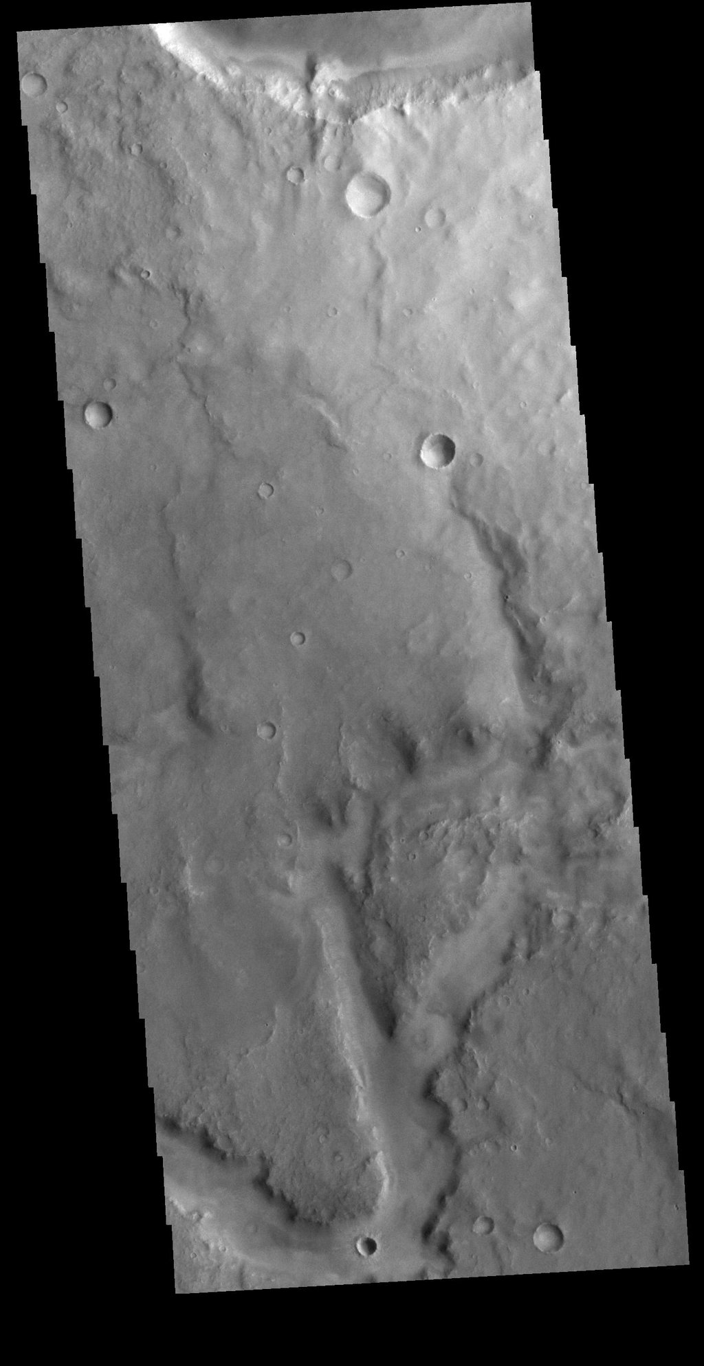 This image from NASA's Mars Odyssey shows part of an unnamed channel in Arabia Terra.