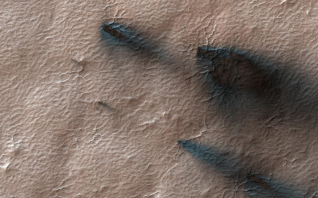 This image acquired on April 27, 2020 by NASA's Mars Reconnaissance Orbiter, shows fans of dust blown out from under the seasonal layer of carbon dioxide ice that forms a polar cap over the winter.