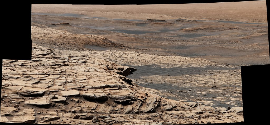 Stitched together from 28 images, NASA's Curiosity Mars rover captured this view from Greenheugh Pediment on April 9, 2020.