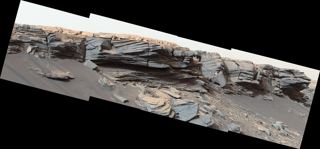 The goosebump-like features in the center of this image were formed by water billions of years ago. NASA's Curiosity Mars rover discovered them as it crested the slope of Greenheugh Pediment on Feb. 24, 2020.