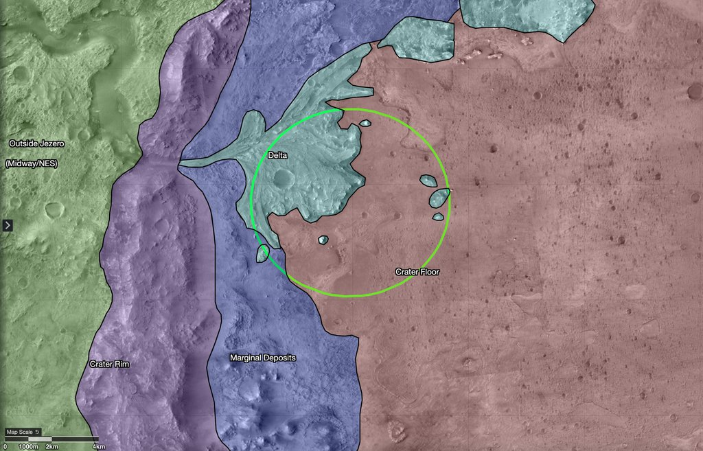 This map shows regions in and around Mars' Jezero Crater, the landing site of NASA's Perseverance rover. The green circle represents the rover's landing ellipse, or the area where it will be landing within the crater.