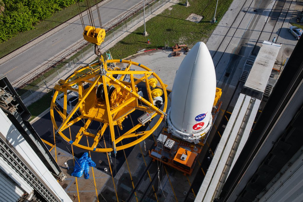 NASA's Mars 2020 Perseverance rover waits to be lifted onto its Atlas V launch vehicle at the Cape Canaveral Air Force Station in Florida on July 7, 2020.