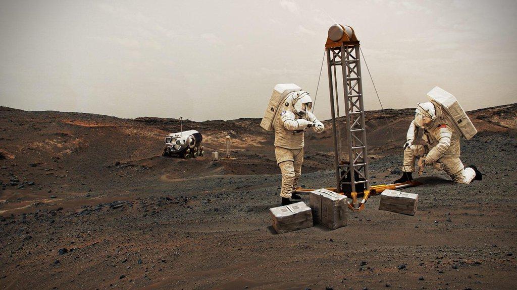 This illustration shows NASA astronauts on Mars.