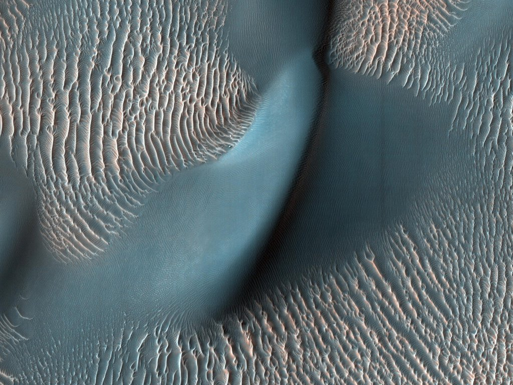 The High Resolution Imaging Science Experiment (HiRISE) camera aboard NASA's Mars Reconnaissance Orbiter captured these sand ripples and the large dune (at center) on Feb. 9, 2009.