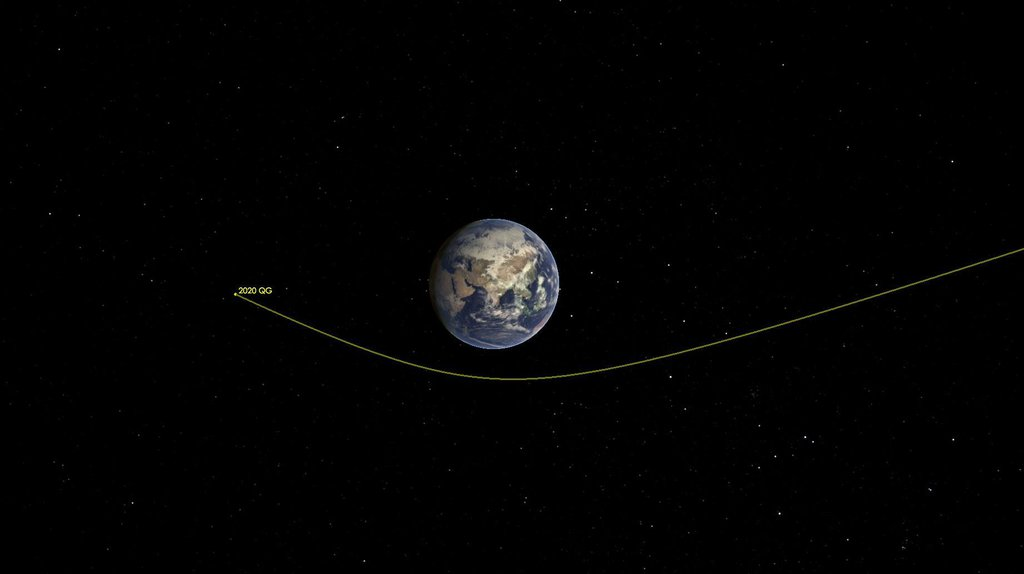 This illustration shows asteroid 2020 QG's trajectory bending during its close approach to Earth. The asteroid is the closest known non-impacting asteroid ever detected.