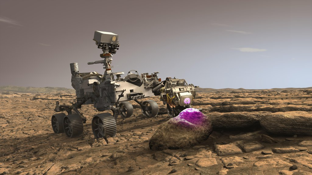 In this illustration, NASA's Perseverance Mars rover uses the Planetary Instrument for X-ray Lithochemistry (PIXL), which will help search for signs of ancient microbial life in rocks.