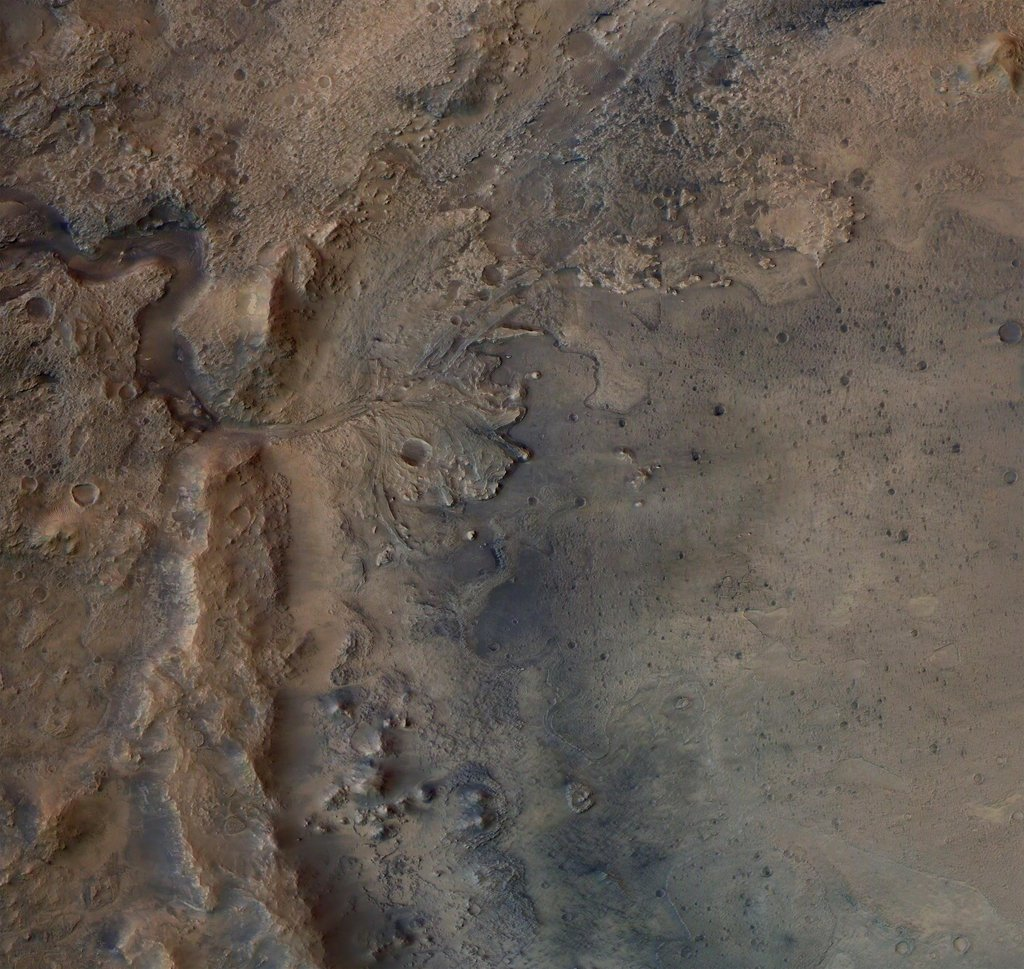 This image shows the remains of an ancient delta in Mars' Jezero Crater, which NASA's Perseverance Mars rover will explore for signs of fossilized microbial life.