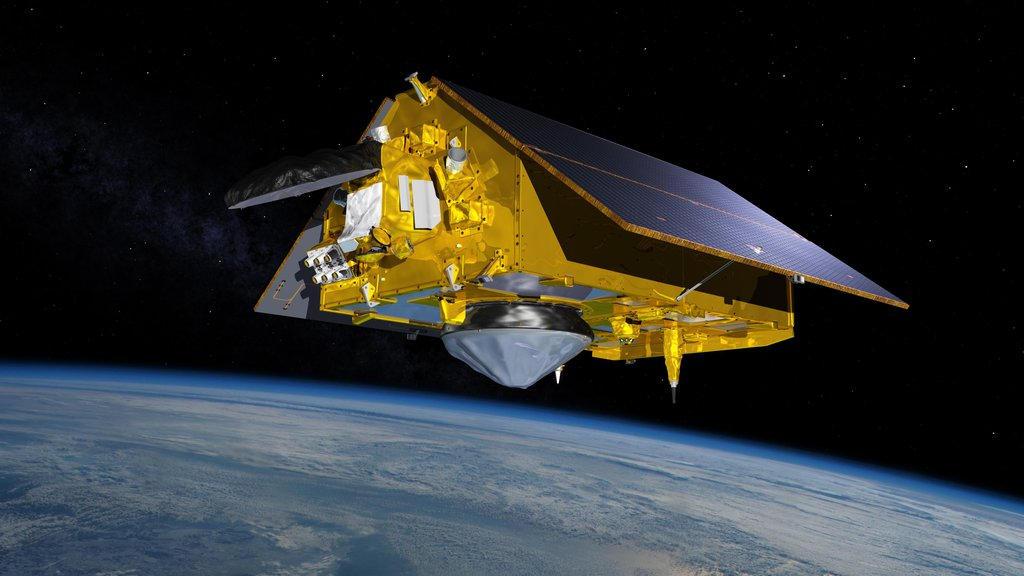 In this illustration, the Sentinel-6 Michael Freilich spacecraft, the world's latest sea-level satellite, orbits Earth with its deployable solar panels extended.