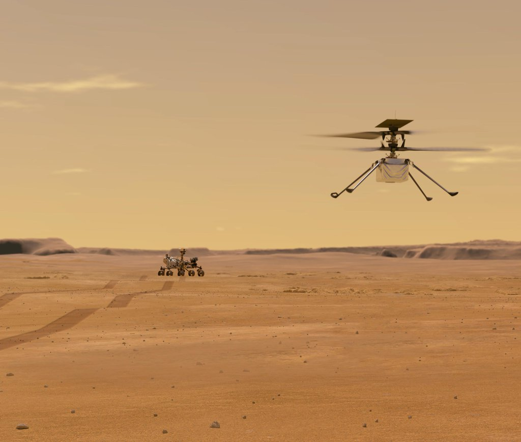 Helicopter Above Perseverance on Mars