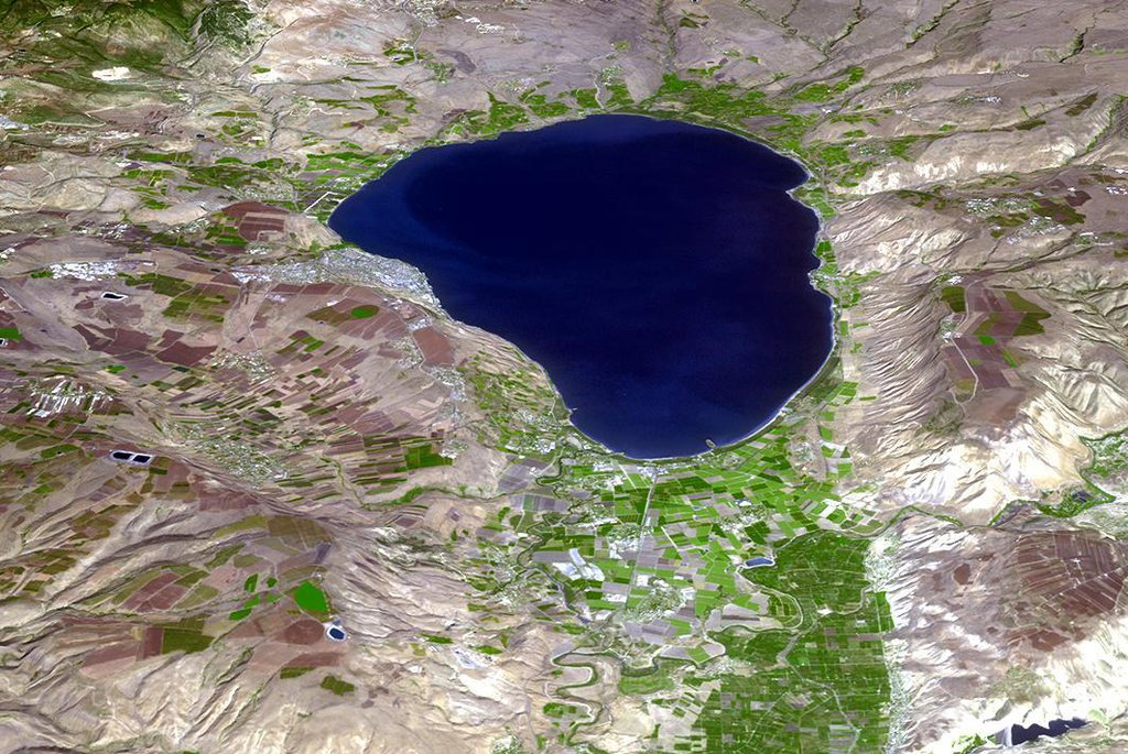 NASA's Terra spacecraft shows the Sea of Galilee (or Sea of Kinneret) in northern Israel, the lowest freshwater lake on Earth.