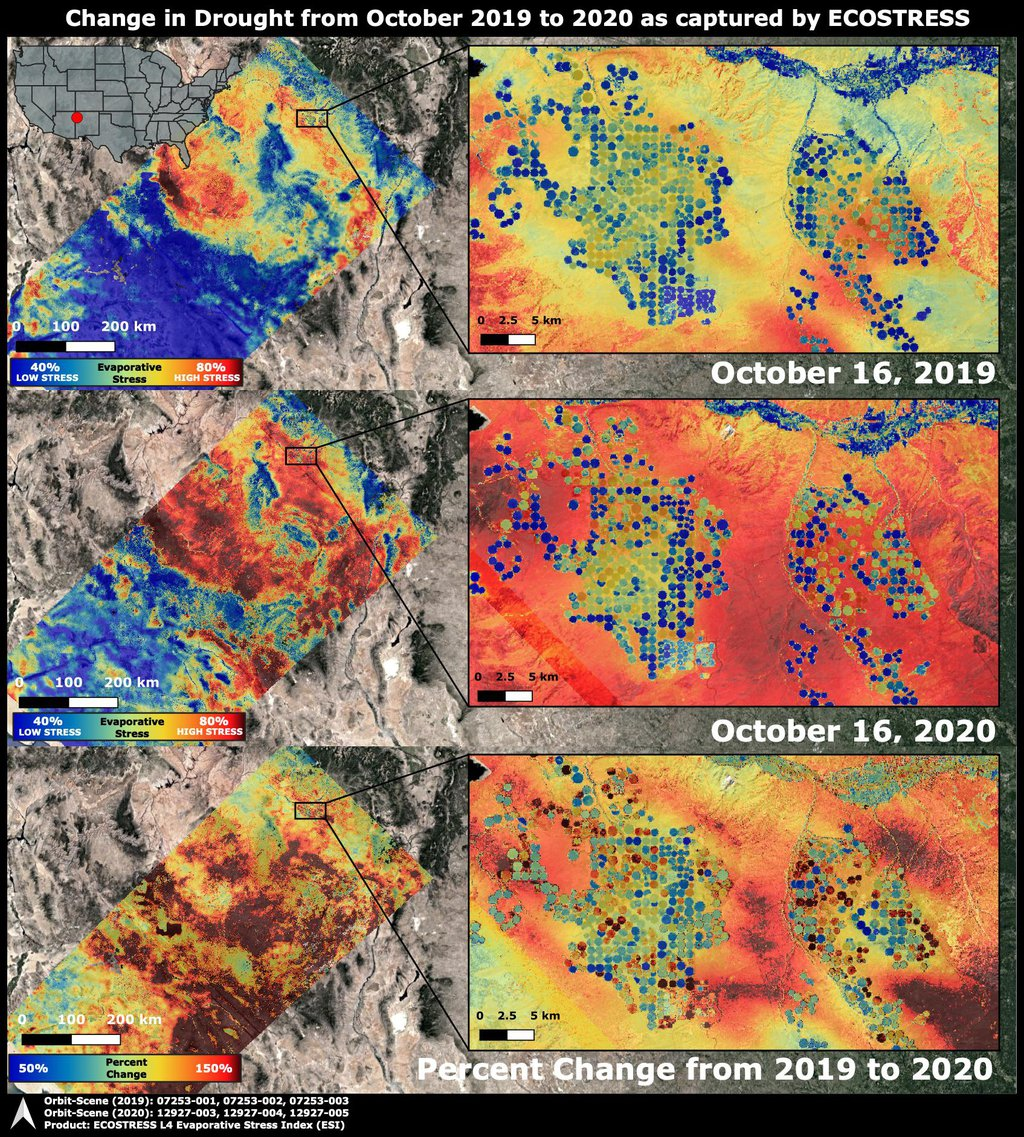 NASA's ECOsystem Spaceborne Thermal Radiometer Experiment on Space Station (ECOSTRESS) imaged the Western United States drought on Oct. 16, 2020, and compared the same area to an image from ECOSTRESS taken a year earlier on Oct. 16, 2019.