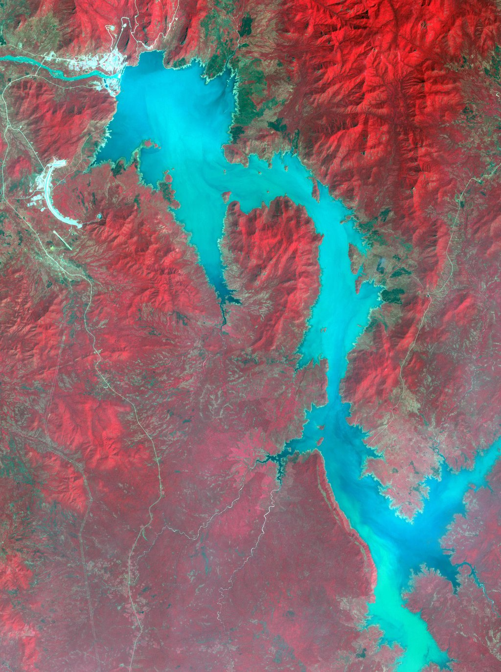 NASA's Terra spacecraft shows filling of the Grand Ethiopian Renaissance Dam (GERD) along the Blue Nile River is well under way near the Ethiopia-Sudan border.