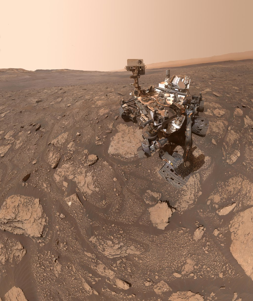 NASA's Curiosity Mars rover took this selfie at a location nicknamed Mary Anning after a 19th century English paleontologist. Curiosity snagged three samples of drilled rock at this site on its way out of the Glen Torridon region.