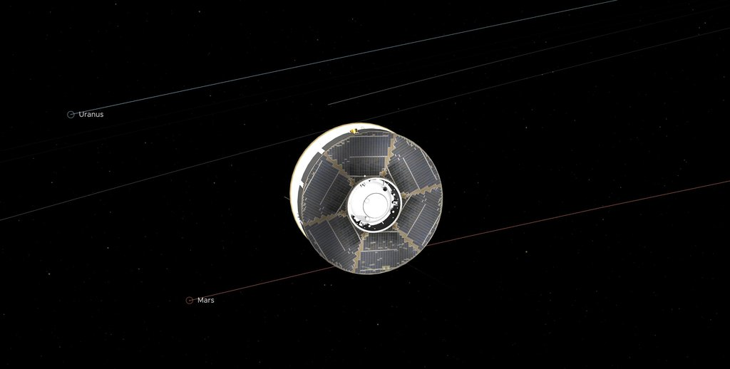 This illustration of the Mars 2020 spacecraft in interplanetary space was generated using imagery from NASA's Eyes on the Solar System. The image is from the mission's midway point between Earth and Mars.