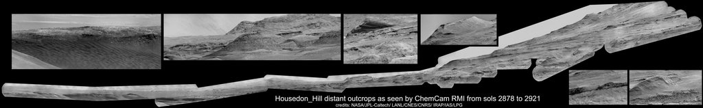 This mosaic shows various scenes captured from a location called Housedon Hill by the ChemCam instrument aboard NASA's Curiosity Mars rover between September 9 and October 23, 2020 (Sols 2878 and 2921).