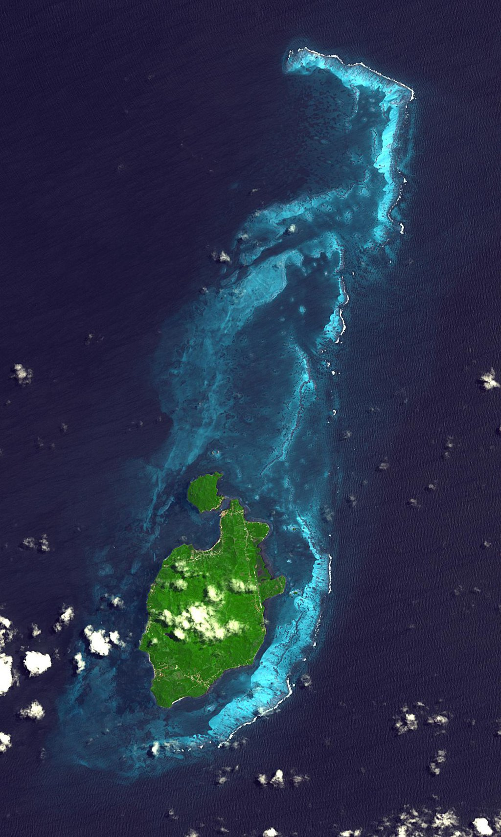 NASA's Terra spacecraft shows Providencia Island, located in the Caribbean Sea. It is part of Colombia even though located 800 km northwest of mainland Colombia.