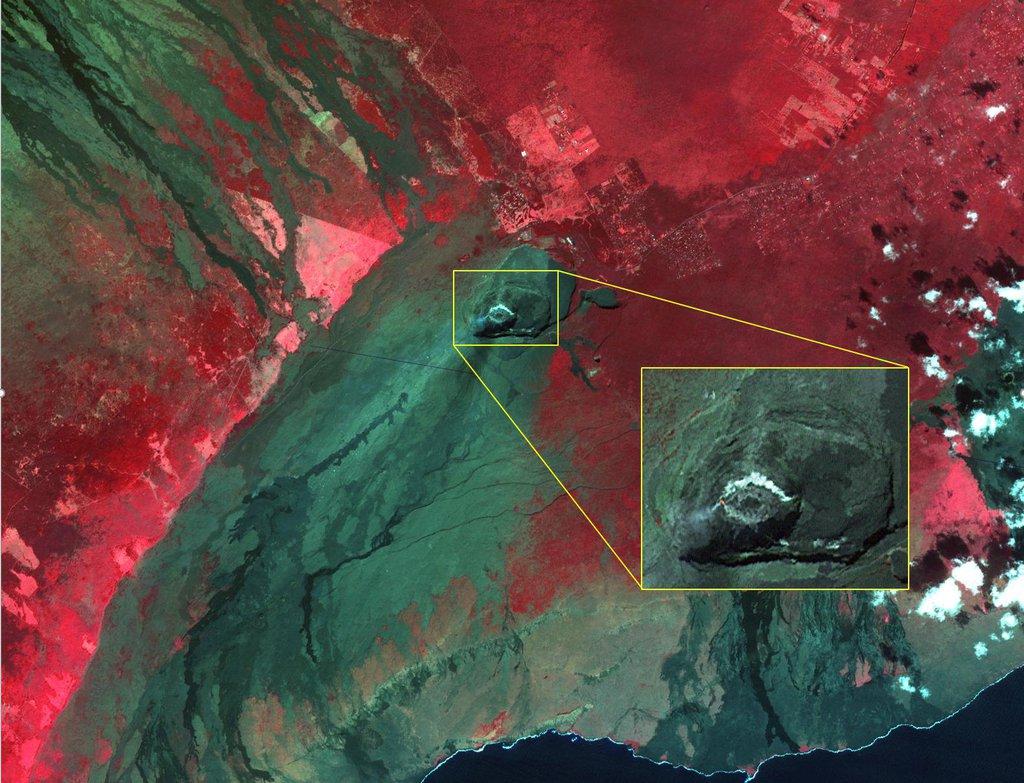 NASA's Terra spacecraft shows Kilauea volcano, Hawaii, which began erupting on December 20, 2020.