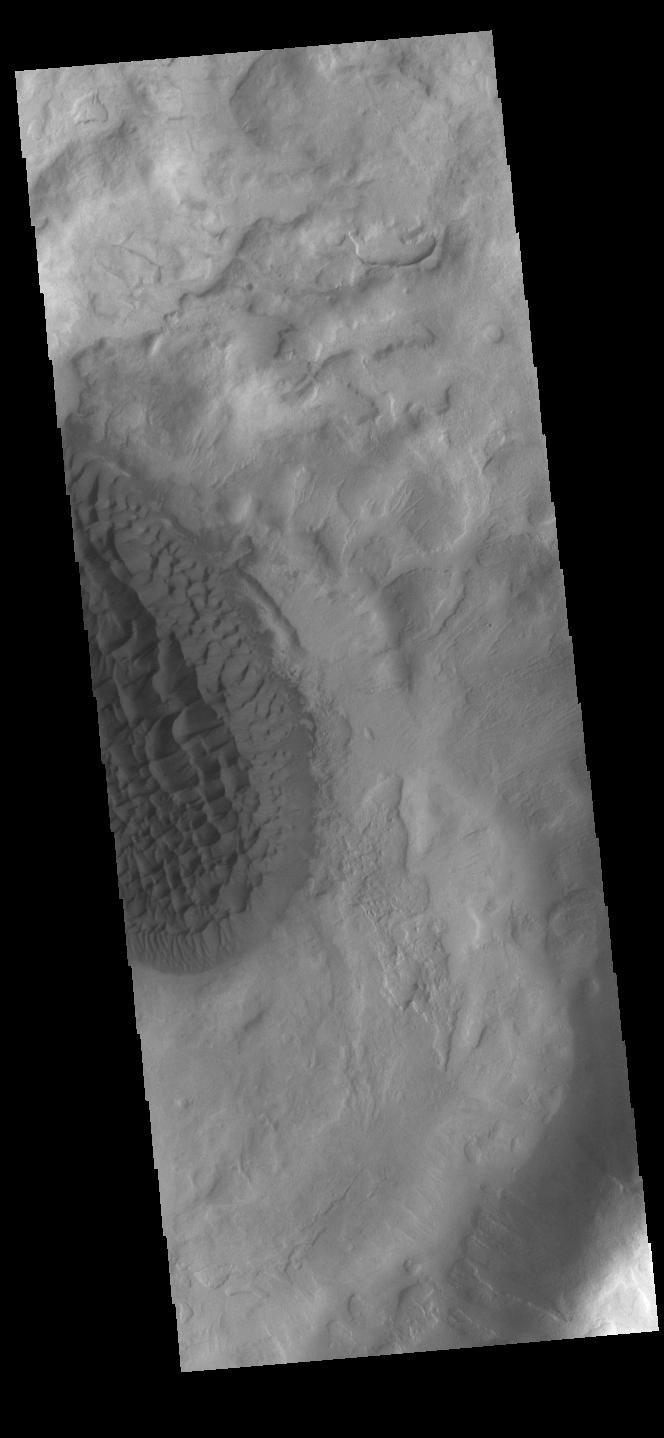 This image from NASA's Mars Odyssey shows the floor of Matara Crater.