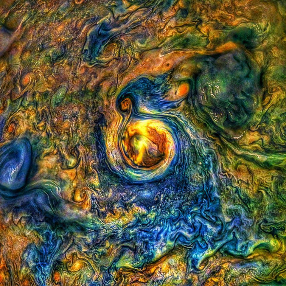 This image was captured by the JunoCam imager aboard NASA's Juno spacecraft on Julyy 21, 2019, during Juno's 20th perijove pass.