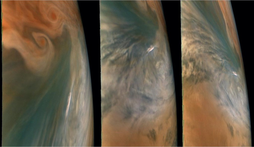 These images from NASA's Juno mission show three views of a Jupiter hot spot. The pictures were taken by the JunoCam imager during the spacecraft's 29th close flyby of the giant planet on Sept. 16, 2020.