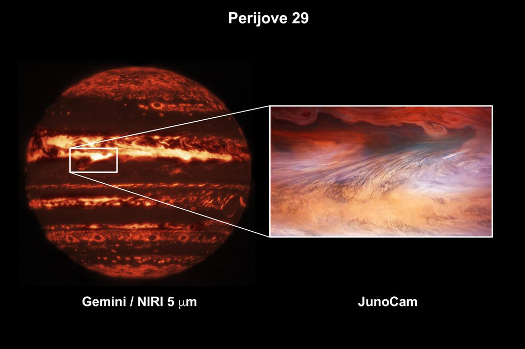 This composite image shows a hot spot in Jupiter's atmosphere during perijove 29.
