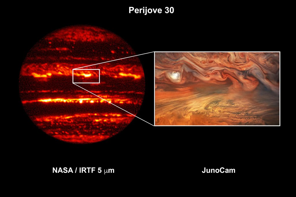 This composite image shows a hot spot in Jupiter's atmosphere during perijove 30.