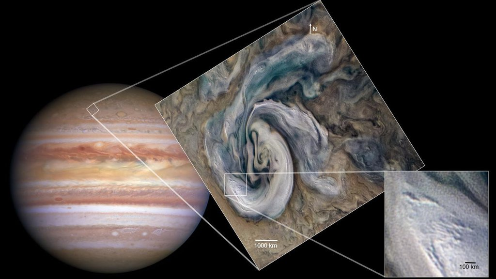 In this annotated, graphic of Jupiter, small, bright pop-up clouds rise above the surrounding features in this cyclonic Jovian storm system.
