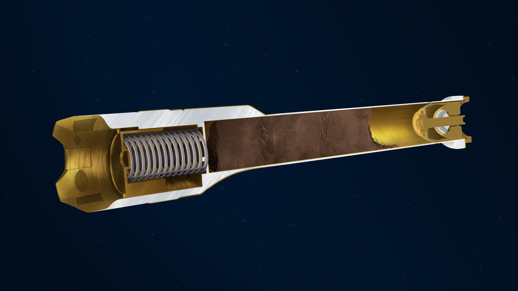 This illustration depicts the interior of a sample tube being carried aboard the Mars 2020 Perseverance rover.