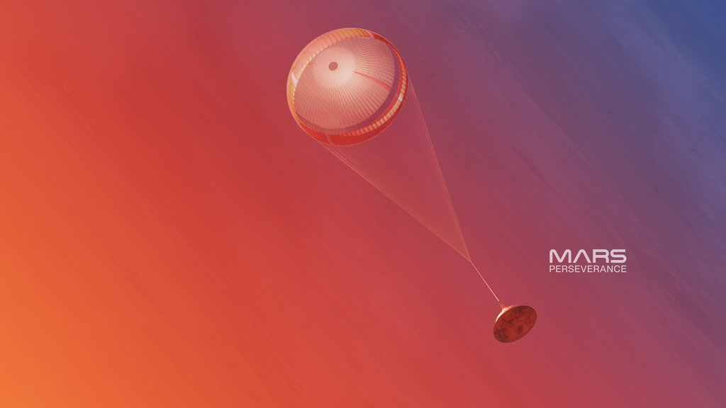 An illustration of NASA's Mars Perseverance rover deploying its supersonic parachute from its aeroshell as it slows down before landing.