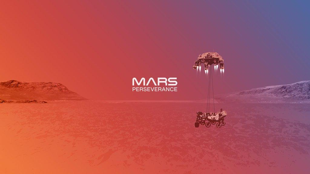 An illustration of NASA's Perseverance rover landing on Mars.