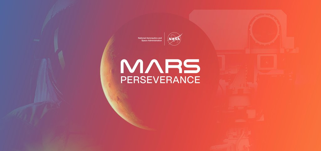 An illustration of the planet Mars, highlighting NASA's Mars Perseverance rover and future human explorers.