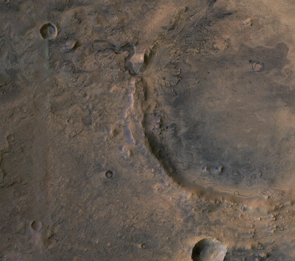 The target landing area of NASA's Perseverance rover is overlaid on this image of its landing site on Mars, Jezero Crater.