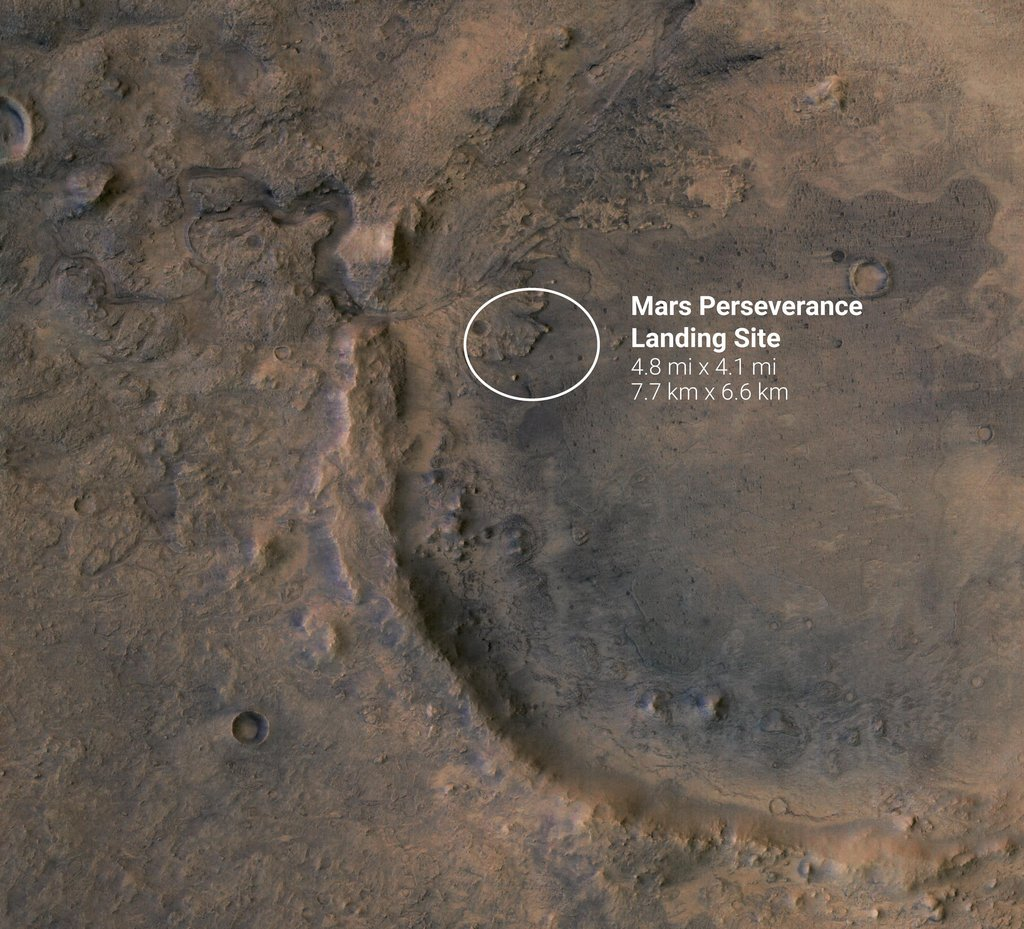 The white circle near the center of this image of Mars represents the location where NASA's Perseverance rover is expected to land on Feb. 18, 2021.
