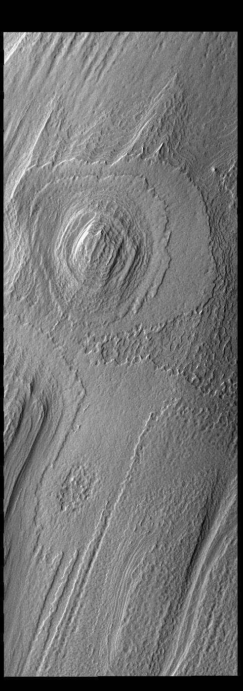 This image from NASA's Mars Odyssey shows part of the south polar cap.