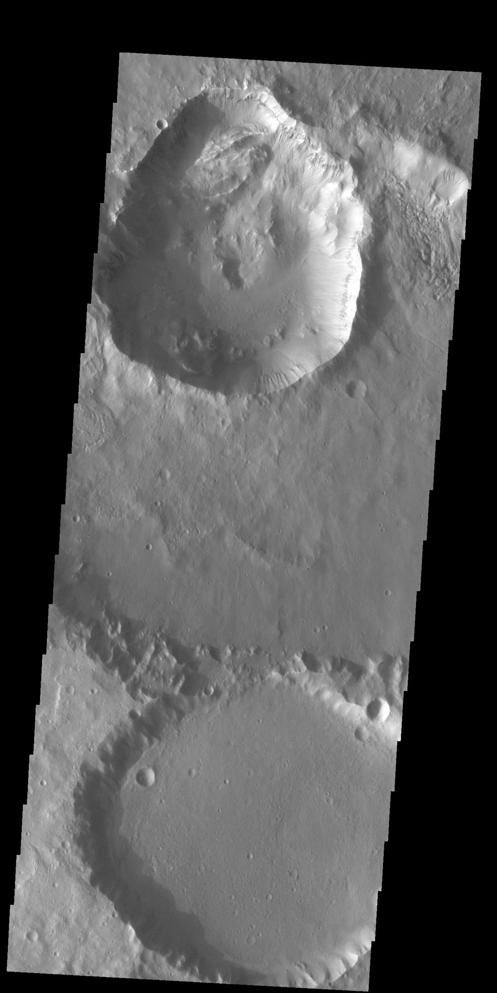 This image from NASA's Mars Odyssey shows three craters in Terra Cimmeria.