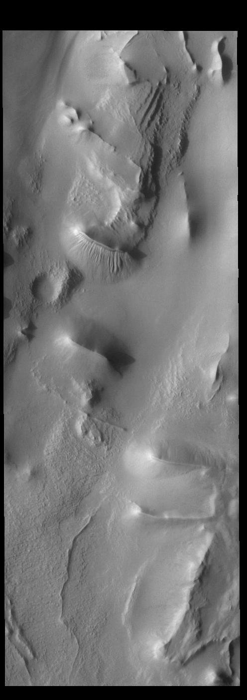 This image from NASA's Mars Odyssey shows Cavi Angusti, located near the south polar cap, consists of large irregular steep-sided depressions termed cavi.
