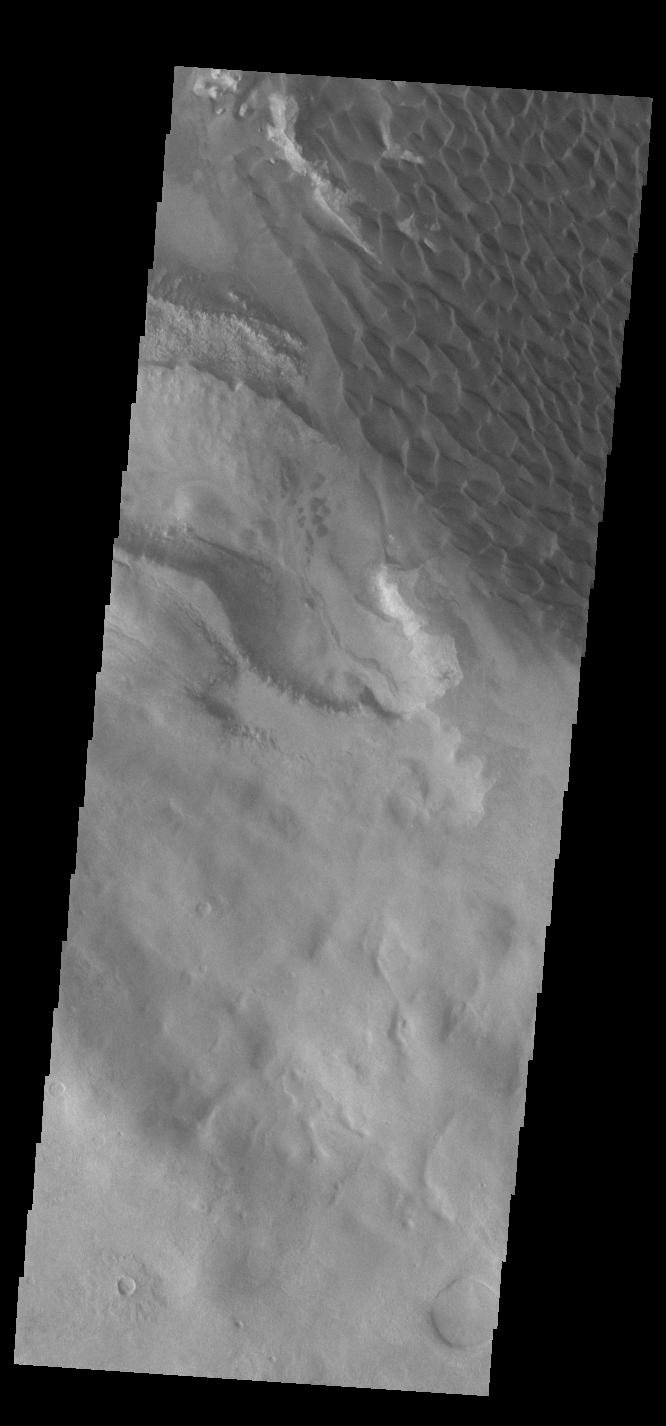 This image from NASA's Mars Odyssey shows dunes, located on the complex floor of Rabe Crater.